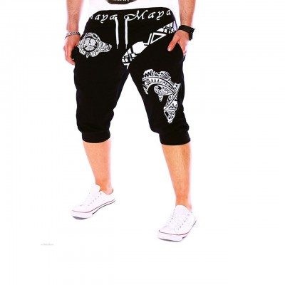 Men's Active Basic Sport Weekend Loose Active Sweatpants Shorts Pants - Letter Black
