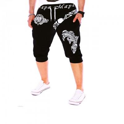 Men's Active Basic Sport Weekend Loose Active Sweatpants Shorts Pants - Letter Black