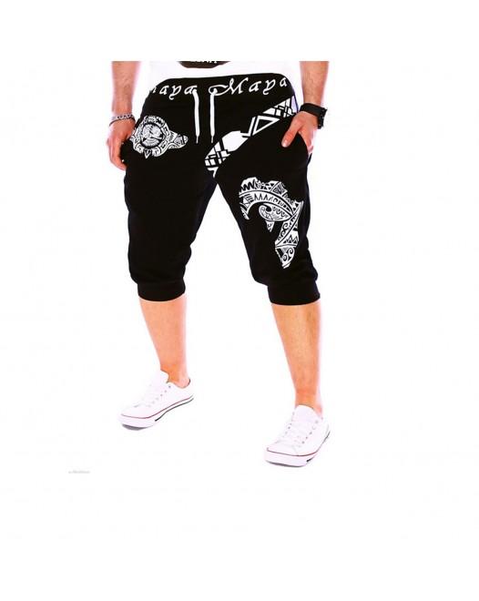 Men's Active Basic Sport Sports Weekend Loose Active Sweatpants Shorts Pants - Letter Black
