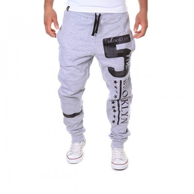 Men's Active / Basic Casual Sports Weekend Loose / Active / Relaxed wfh Sweatpants - Letter Light grey