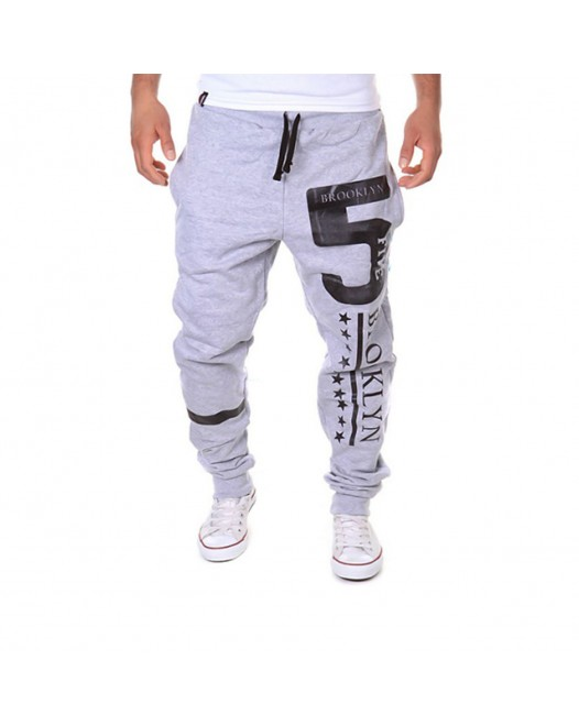 Men's Active / Basic Casual Sports Weekend Loose / Active / Relaxed wfh Sweatpants - Letter Light gray