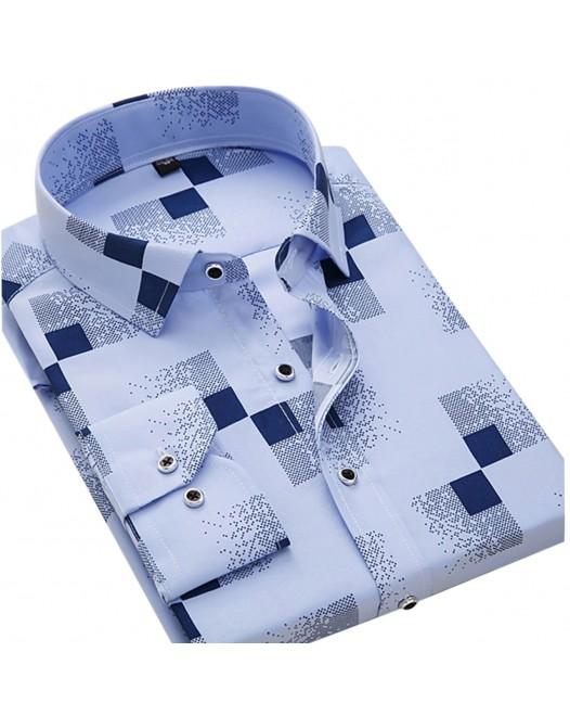 Men's Daily Work Weekend Business / Basic Shirt - Geometric Light Blue Long Sleeve