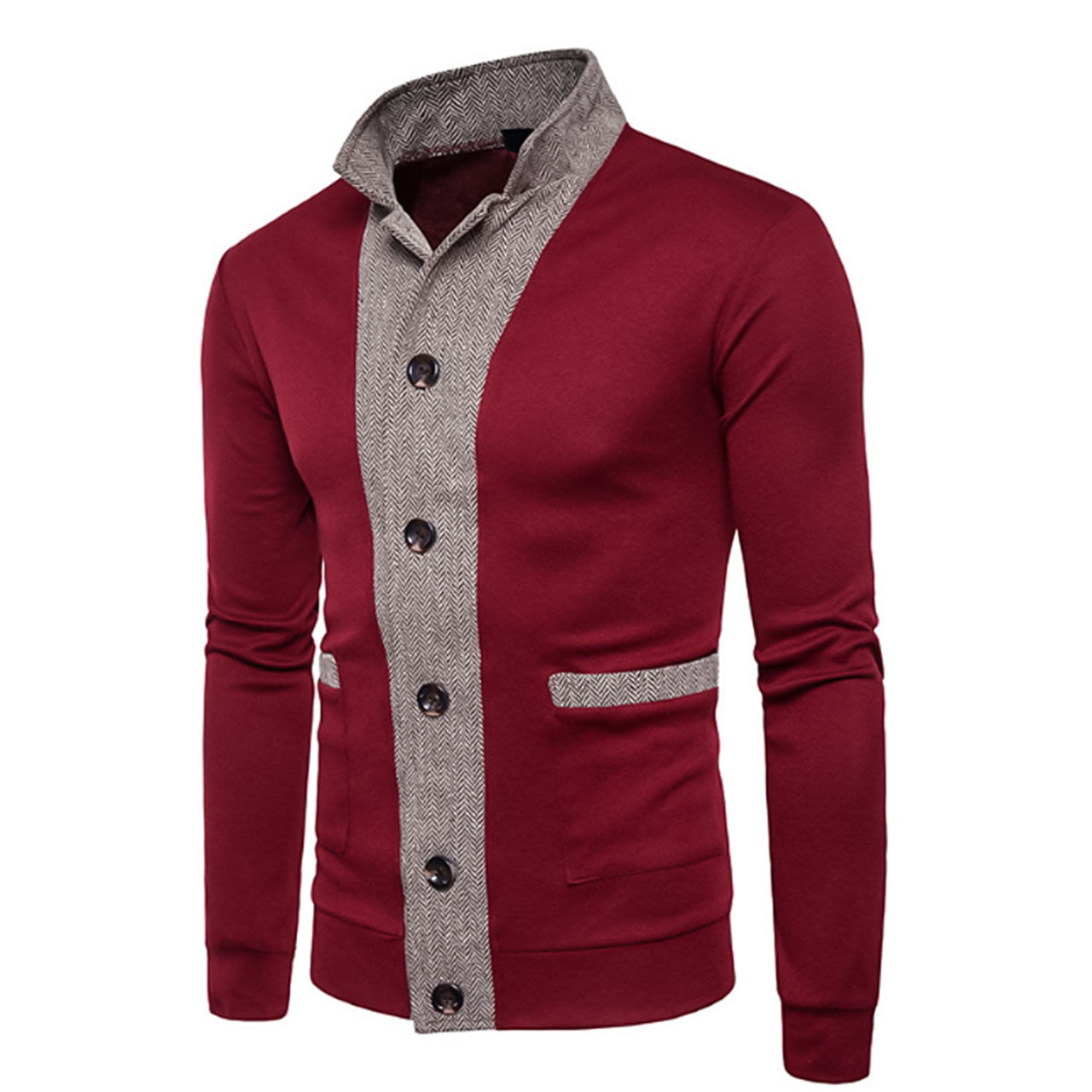 Men's Denim Wine/Black Daily Block Long Sleeve Regular Cardigan Sweater Jumper