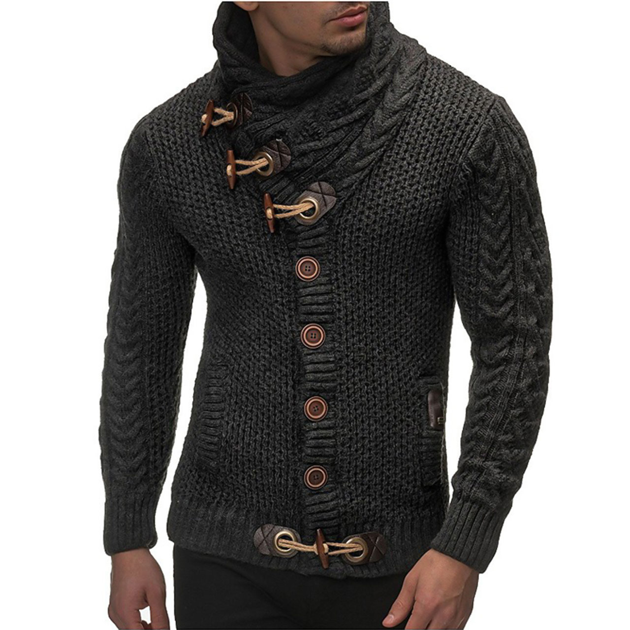 Men's Daily / Going out / Weekend Solid Dark Gray Colored Turtleneck Long Sleeve Slim Regular Cardigan Sweater Jumper