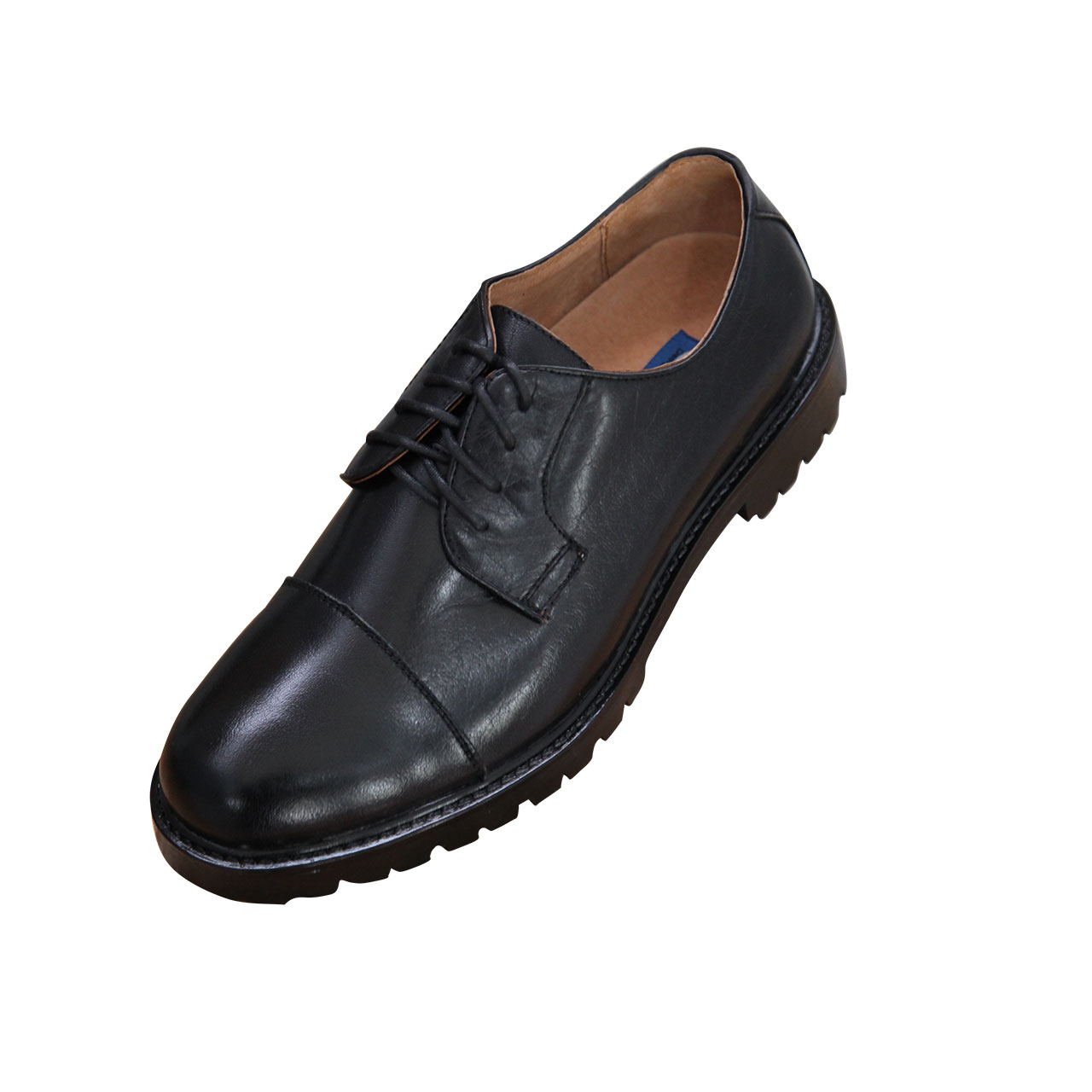 Men's Classic Oxford Plain Cap Toe Lace Up Brogue Genuine Leather Shoe - Black
