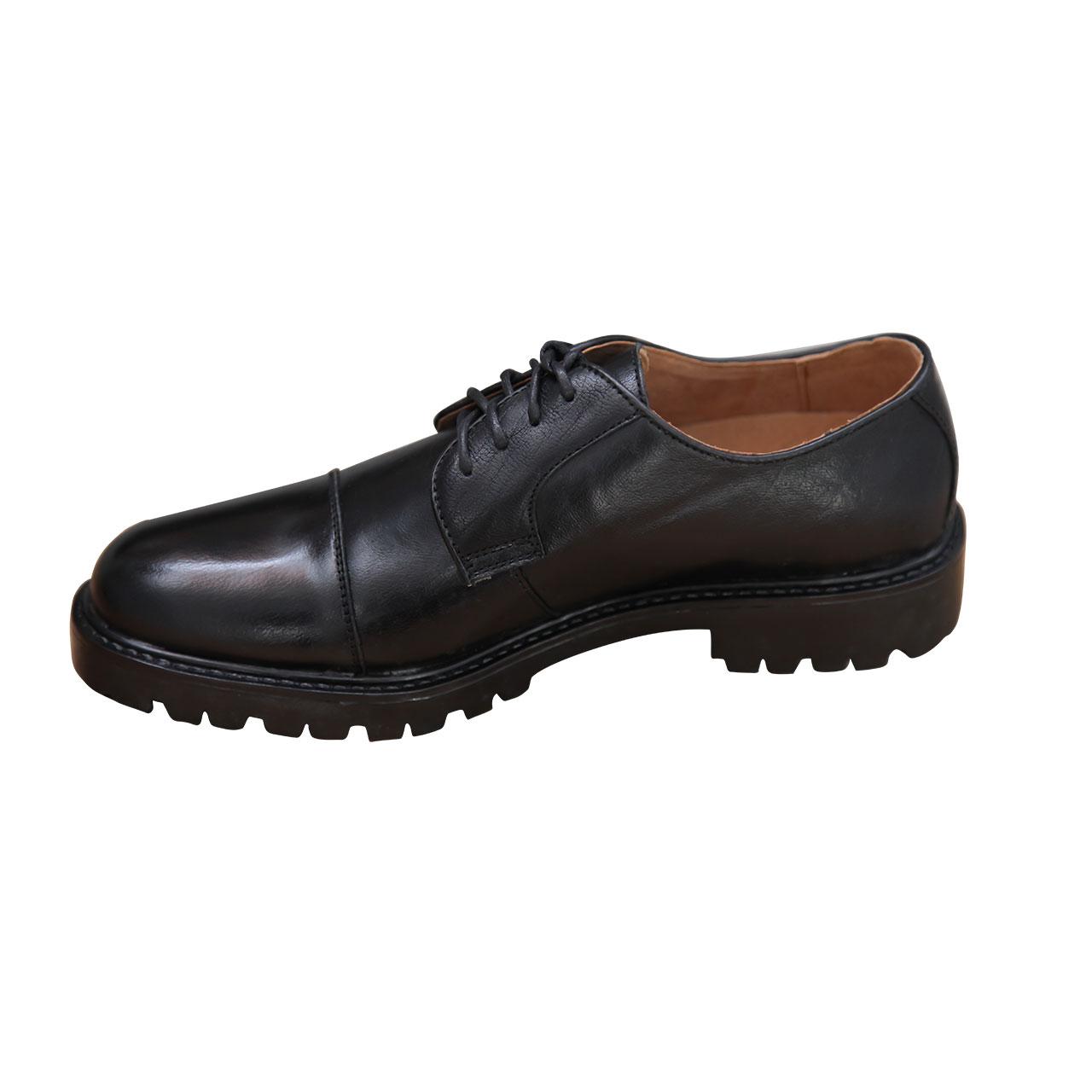 Men's Classic Oxford Plain Cap Toe Lace Up Brogue Genuine Leather Shoe - Black