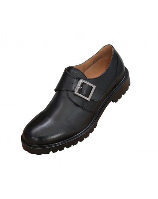 Men's Office Closed Toe Single Monk Strap Genuine Leather Shoe - Black