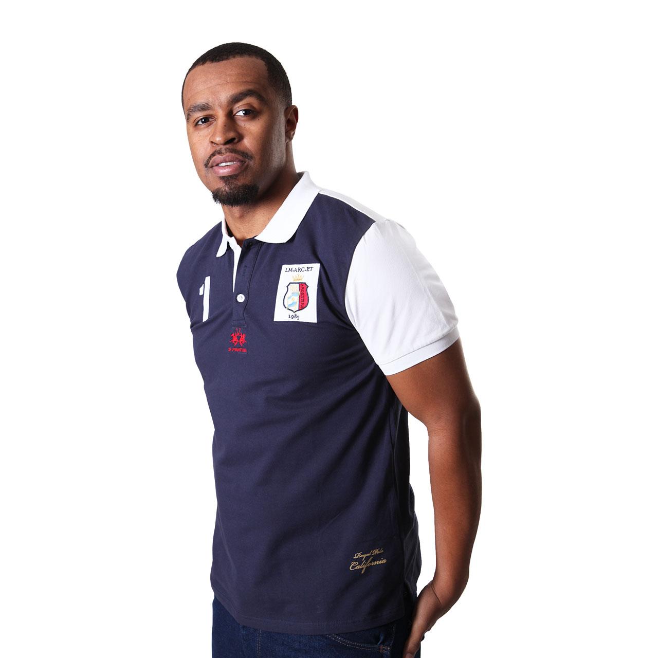Men's Solid San Luis Comfortable Short Sleeve Navy Blue Polo Shirt