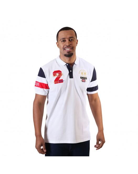 Men's Trendy White Short Sleeve Polo Shirt With Collar