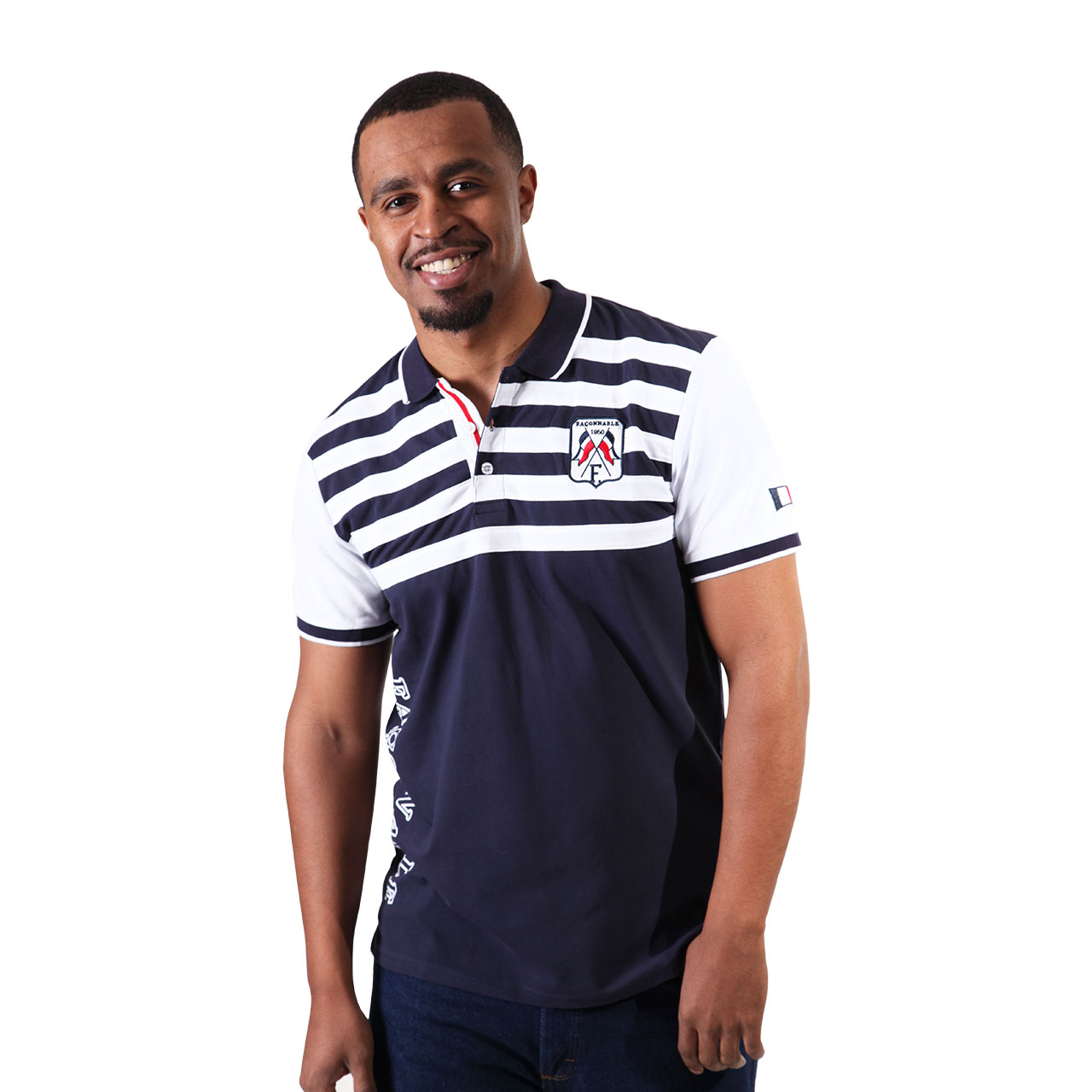 Textured Regular Fit Blue And White Striped Polo Shirt For Men