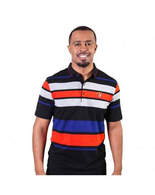 Multi Color Horizontal Stripes Men's Designer Polo Shirt