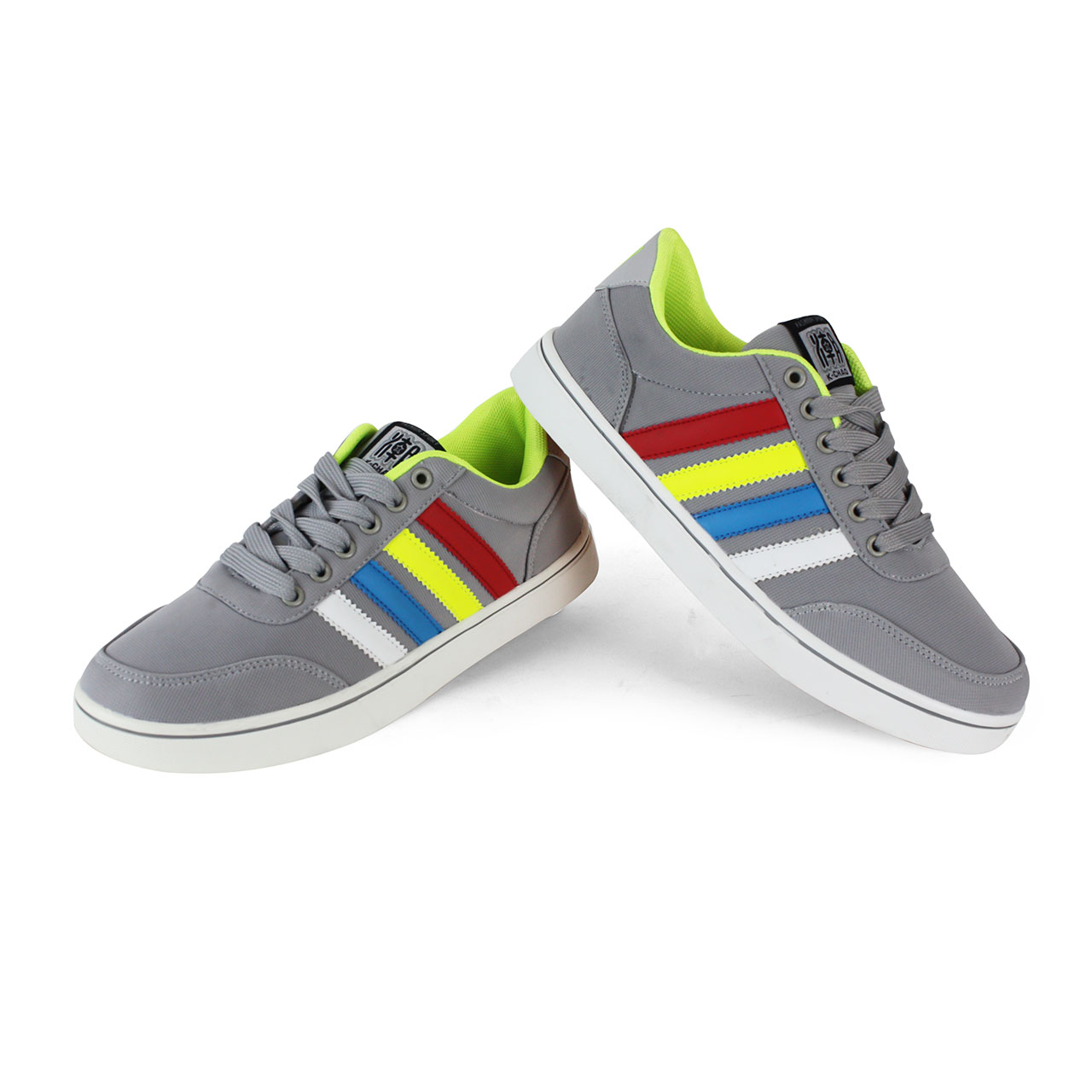 Men's Trendy Ash/Blue Multi-Color Straps Lace-Up Sneakers