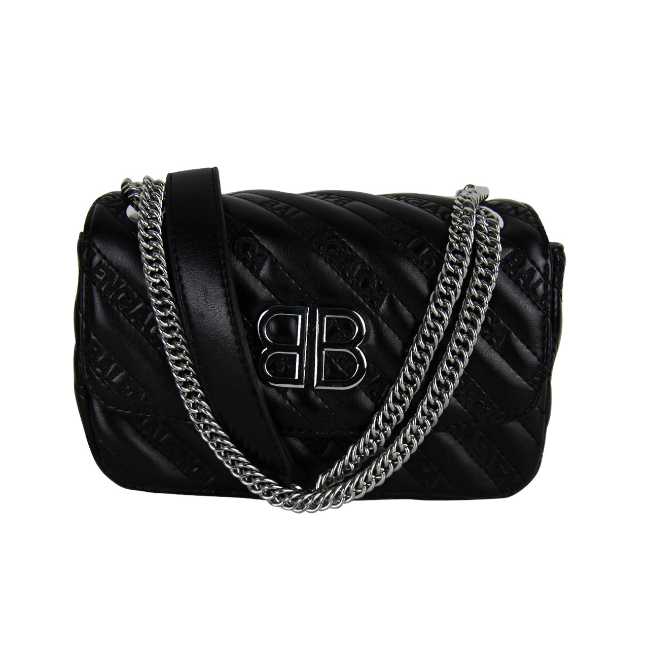 Real Leather Quilted Black Crossbody Purse With Leather And Silver Chain Strap For Women