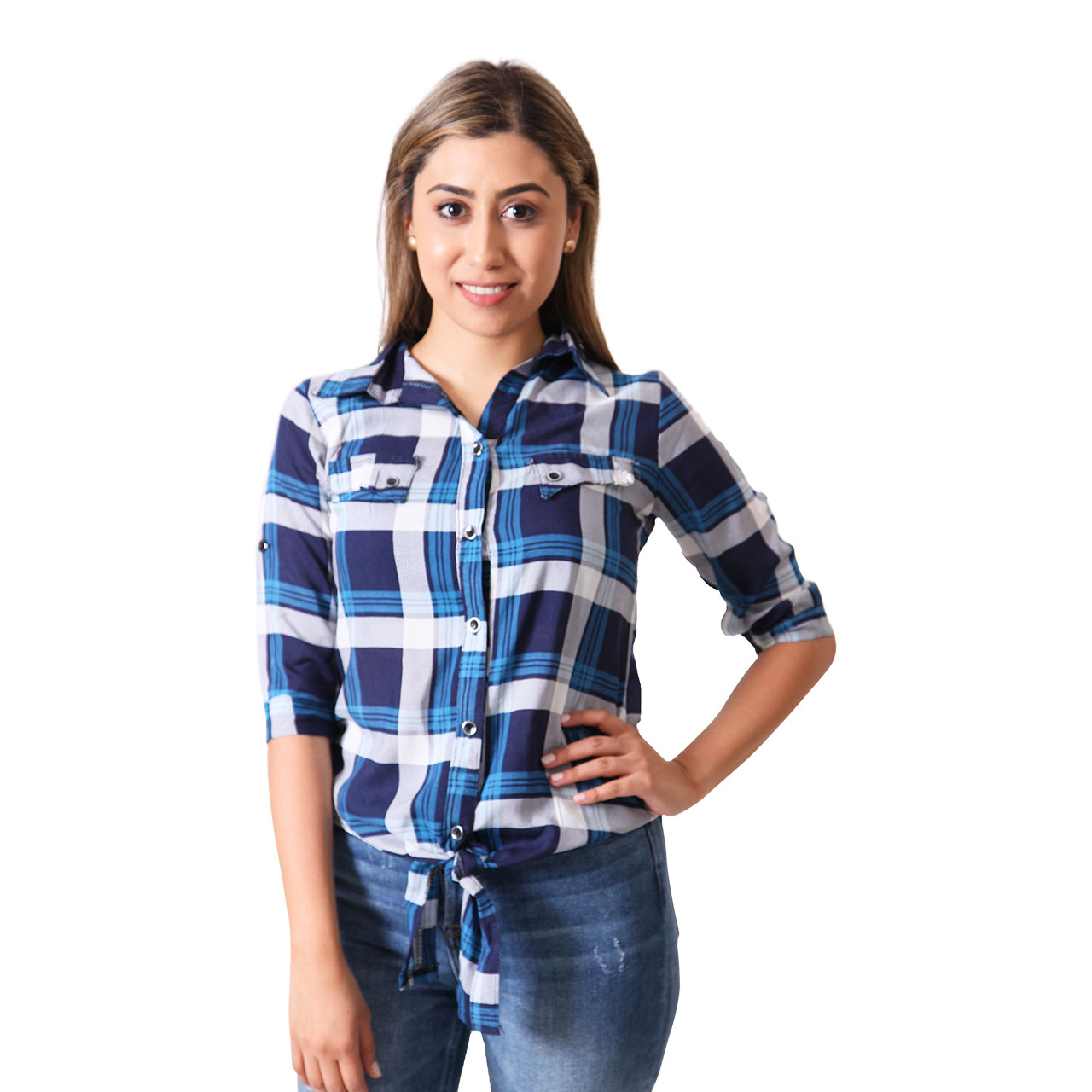 Women Multi-Color Plaid-Print Cotton Twill Roll-Tab Shirt