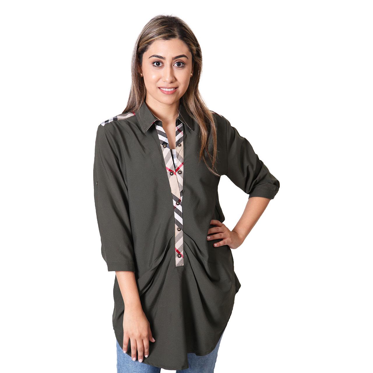 Women Split-Neck Cotton Top 3/4-Sleeve Polo Shirt