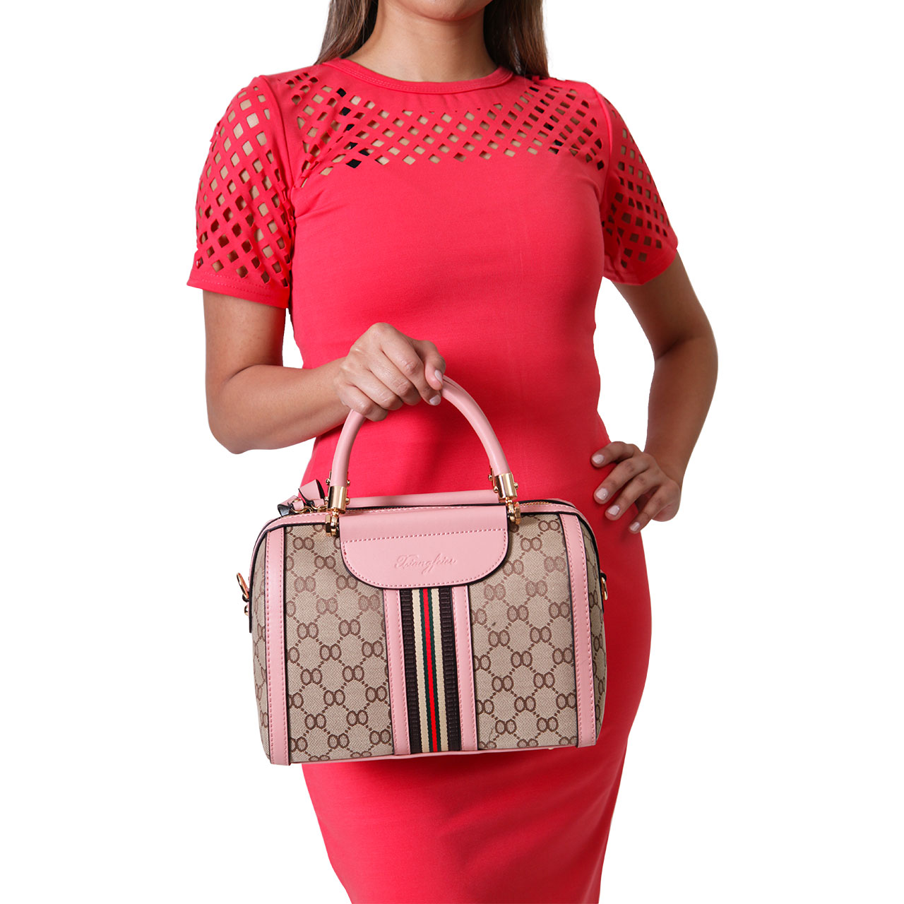 Women Leather Tote Mini Quilted Bag