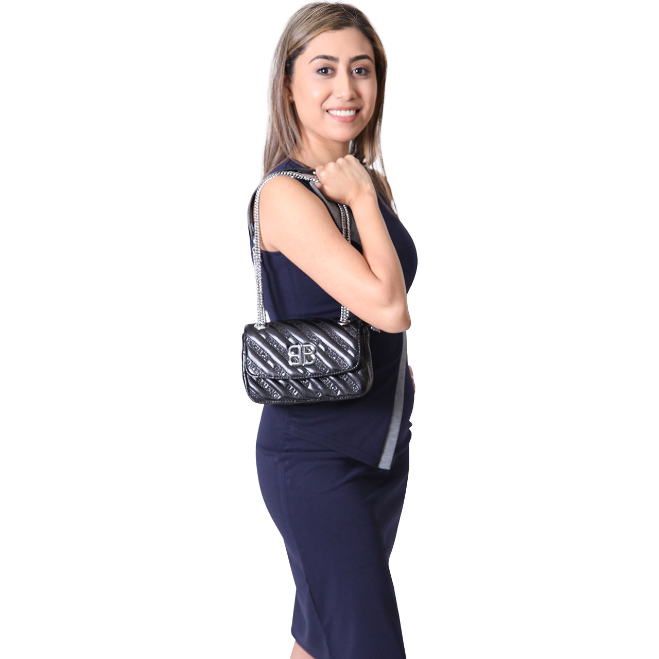 Real Leather Lambskin Quilting Women Shoulder Cross body Small Bag with Leather And Chain Straps Black