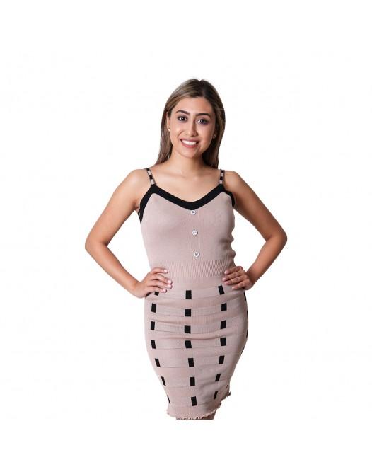 Cutout Sleeveless Illusion-Trim Bodycon Dress For Women