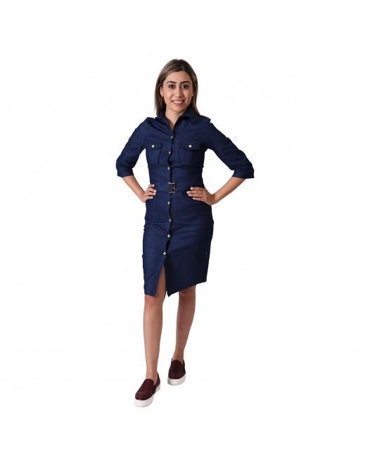 Women Dark Blue Vintage Collared Elegant Long Sleeve Bodycon Casual Dress