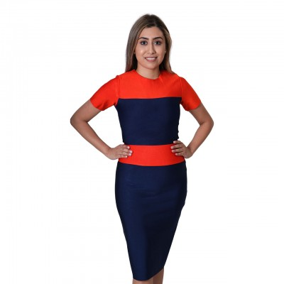 Striped Tape Double Shaded Short Sleeve Midi Length Bodycon Dress - Multicolor
