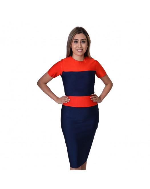 Striped Tape Double Shaded Short Sleeve Midi Length Bodycon Dress - Multicolor
