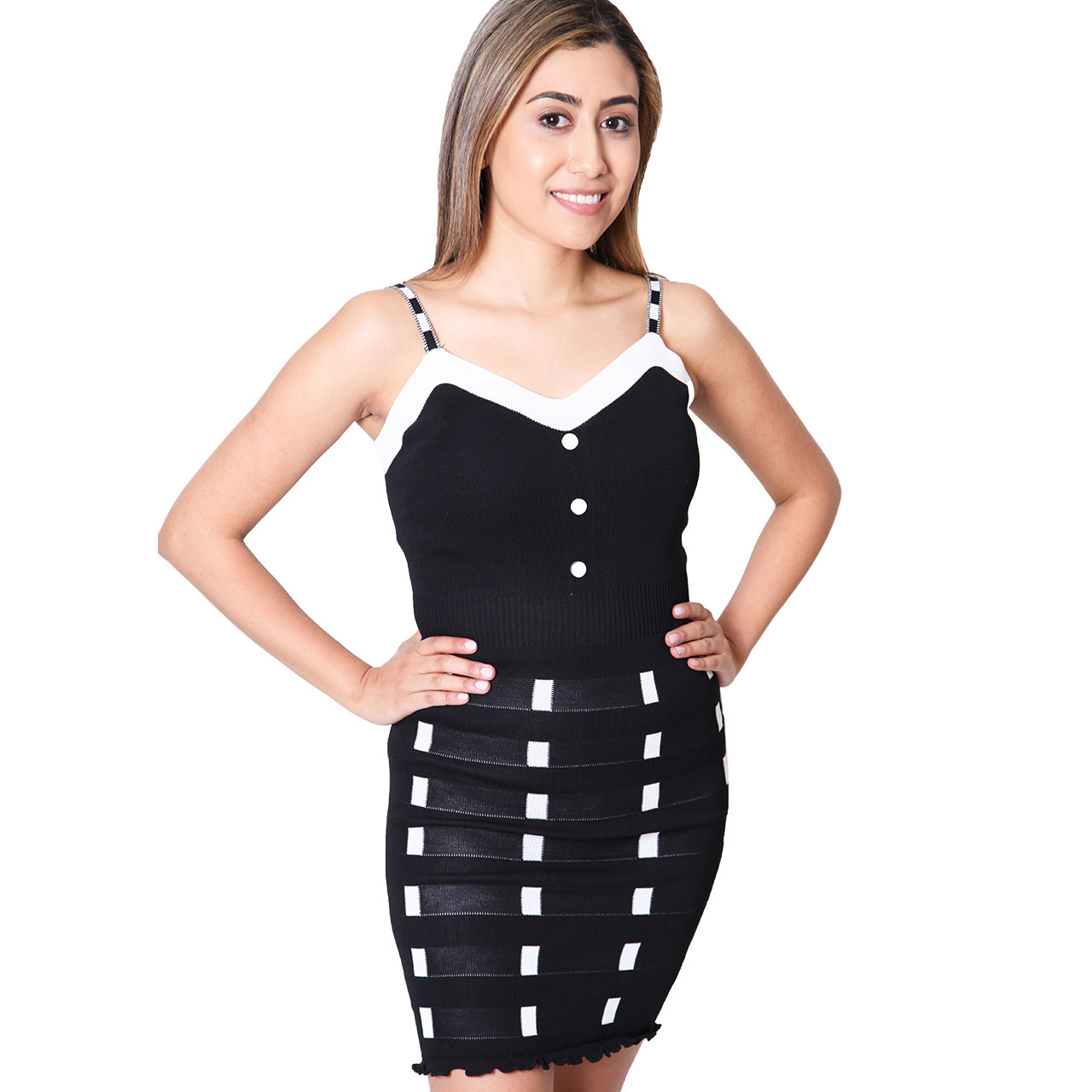 Cutout Sleeveless Illusion-Trim Bodycon Dress For Women