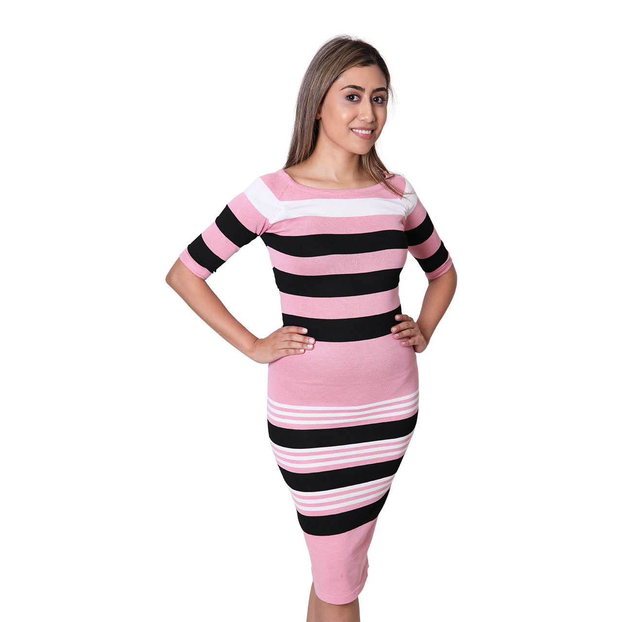 Pencil Fit Black And White Striped Light Pink Bodycon Dress For Women