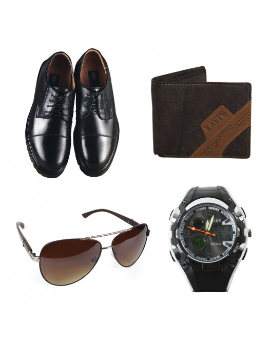 Get 4 & Pay For 2 - Genuine Leather Shoes for Men (Combo Pack of Oxford Shoes, Wallet, Watch & Sunglass)