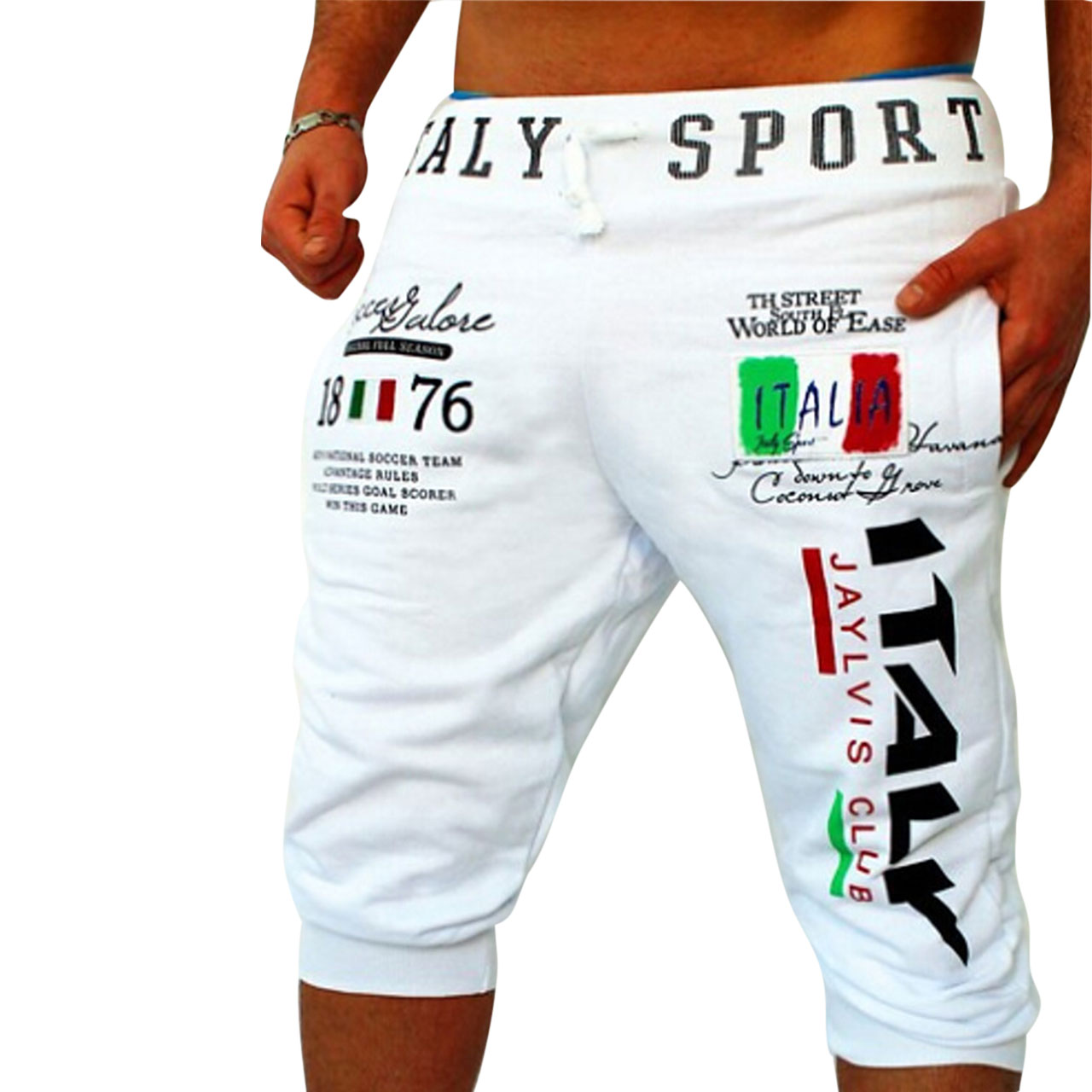 Active / Basic Sports Weekend Relaxed / wfh Sweatpant Shorts Men's Pants - Letter Print White