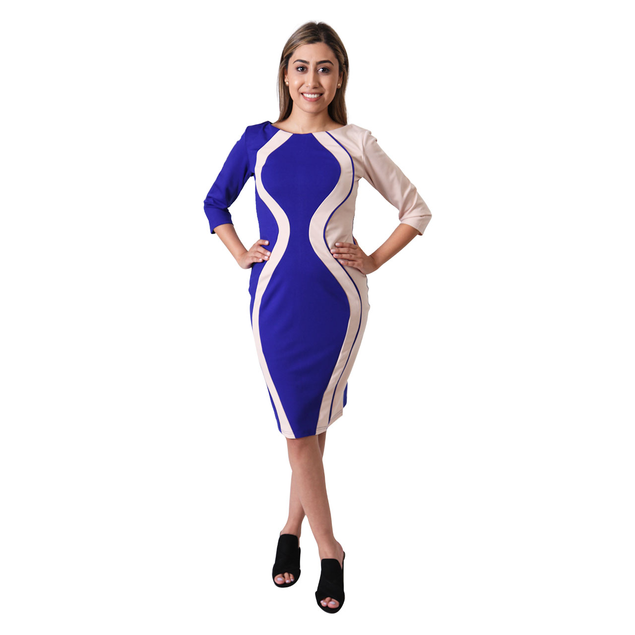 Contrast Panel Pencil Midi Multi Color Bodycon Dresss For Women