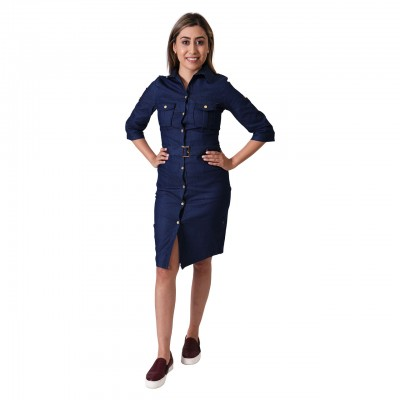 Dark Blue Collared Long Sleeve Vintage Casual Bodycon Dress For Women
