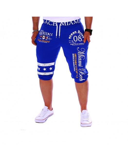 Men's Active Basic Weekend Loose wfh USA Sports Pants Sweatpants Shorts Letter Print Blue
