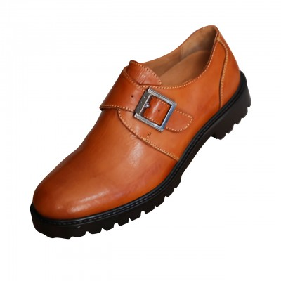 Mens Genuine Leather Wingtip Single Monk Strap Shoes Brown
