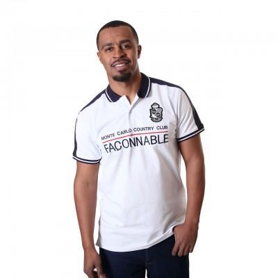 Mens Monte Carlo Faconnable Short Sleeve White Polo Shirt