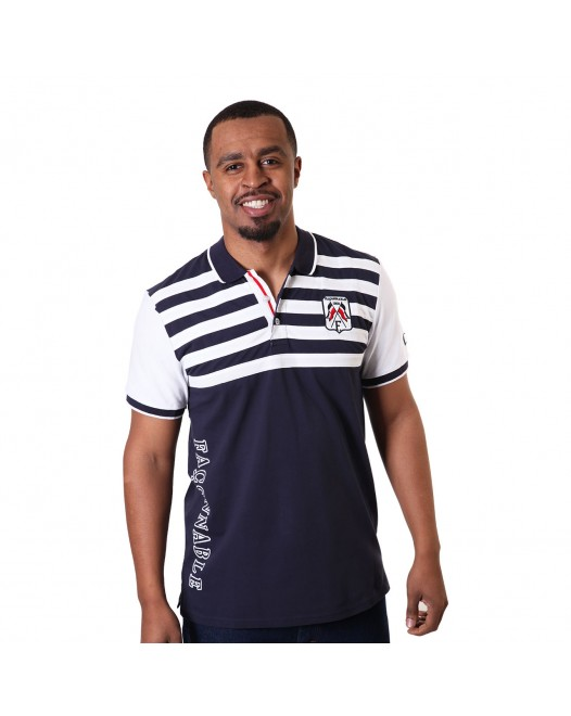 Men's Regular Fit Blue And White Striped Polo Shirt