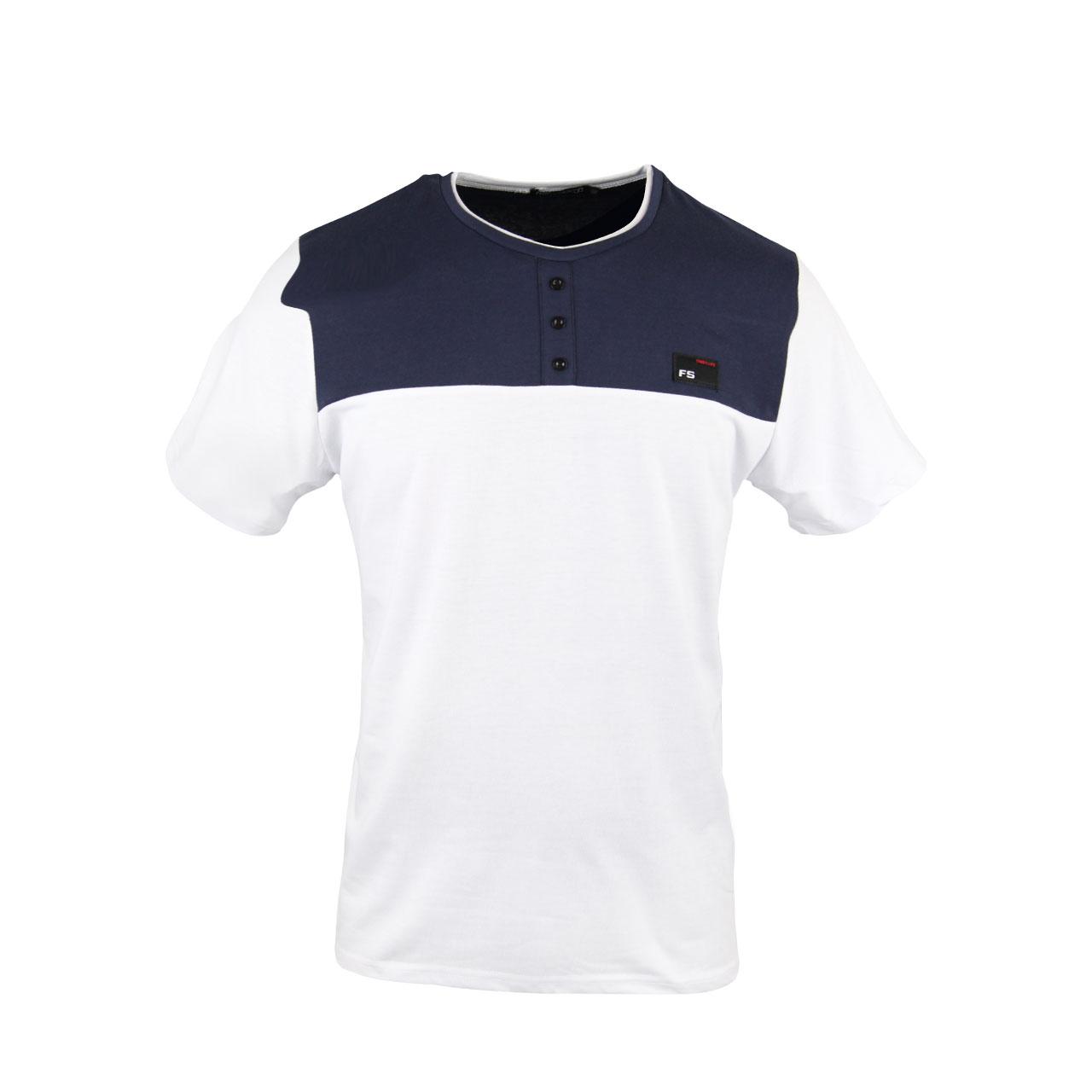 Men's Royal Blue White Collared Henley T Shirt