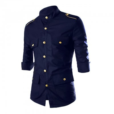 Men's Solid Colored Days Collar Military Cotton Shirt - Navy Blue