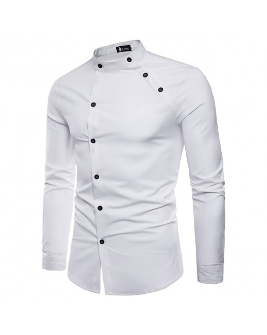 Men's Solid Colored Shirt - Cotton Daily White Long Sleeve