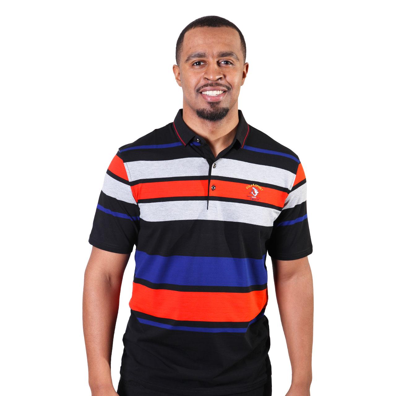 Multicolor Horizontal Striped Designer Polo Shirts For Men