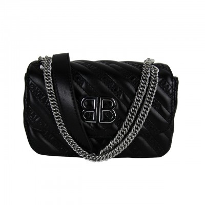Real Leather Quilted Small Black Crossbody Purse With Leather And Silver Chain Strap For Women