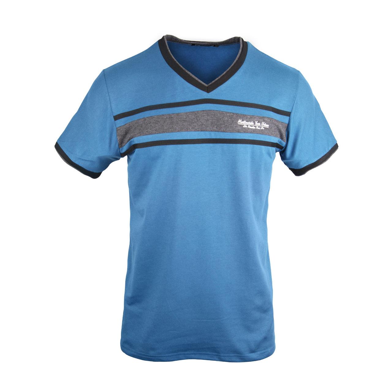 Short Sleeves Solid V Neck T Shirts For Men - Black/Ash/Blue