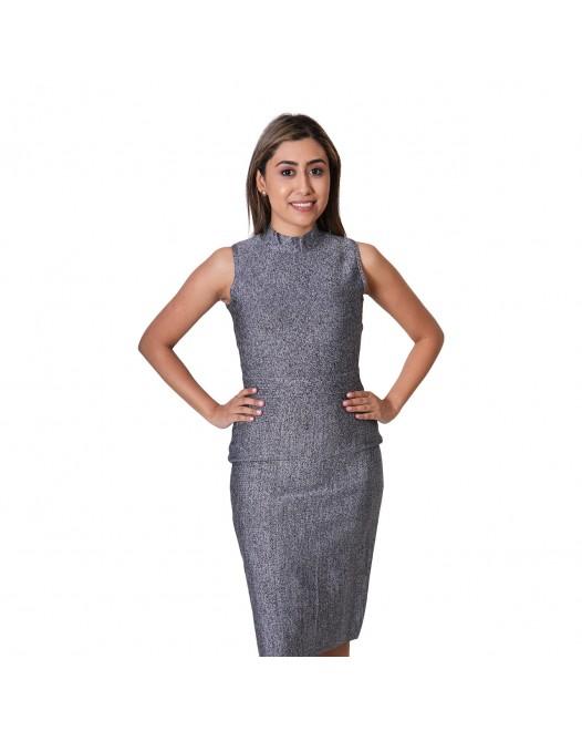 Sleeveless Womens Mock Neck Grey Bodycon Dresses