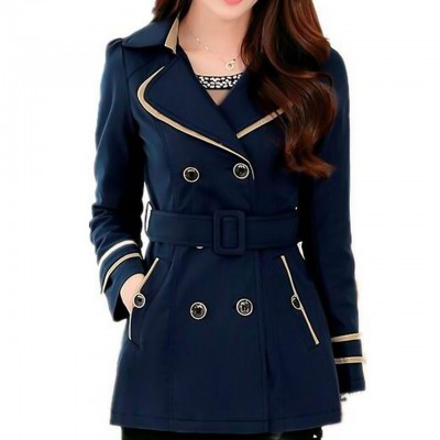 Women's Daily Spring Navy Blue Fold Over Collar Jacket Solid Colored Long Sleeve Trench Coat