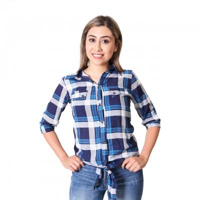 Womens Multi-Colored Plaid Print Cotton Shirt Twill Roll-Tab