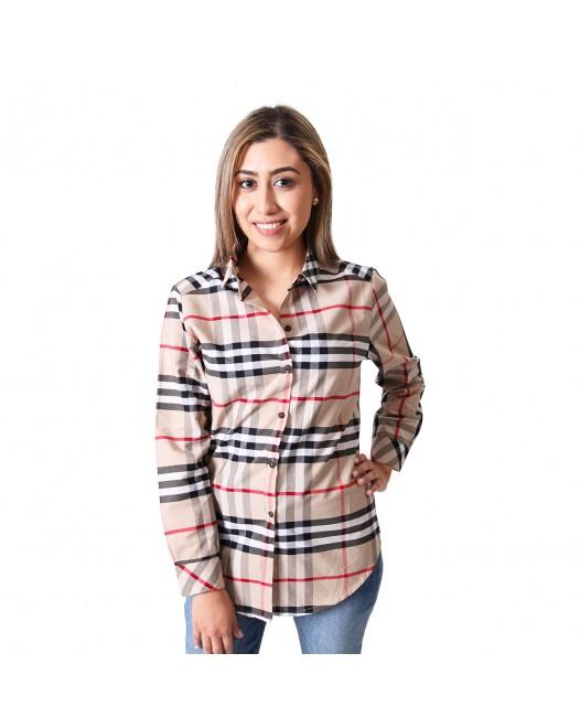 Women's Multicolor Plaid Flannel Long Sleeve Shirt