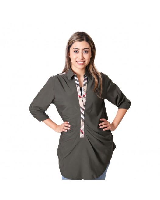 Women Split-Neck Cotton 3/4-Sleeve Polo Shirt Tops
