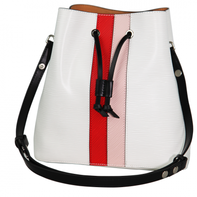 Zeekas Stylish Solid White With Red And Pink Bucket Tote Sling Bag For Women
