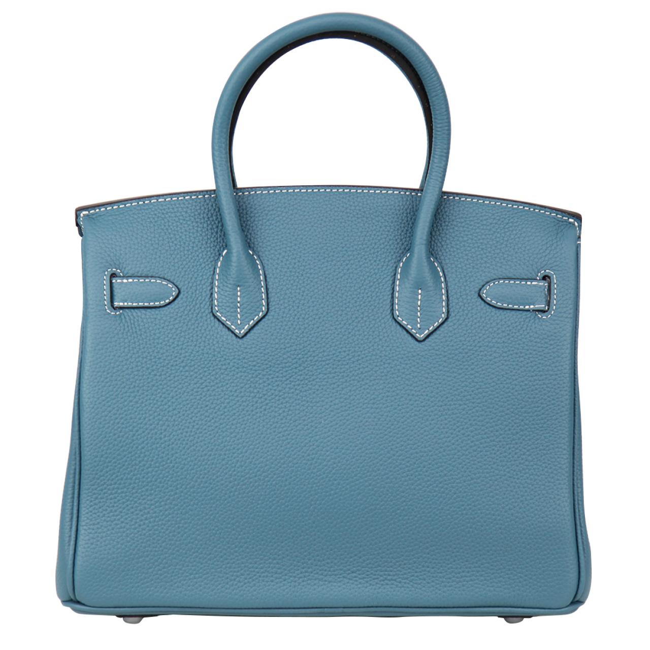 Zeekas Birkin Silver Hardware Blue New PU Leather Tote Bag