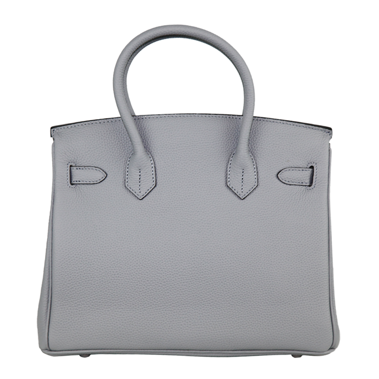 Zeekas Birkin Silver Hardware White New PU Leather Tote Bag