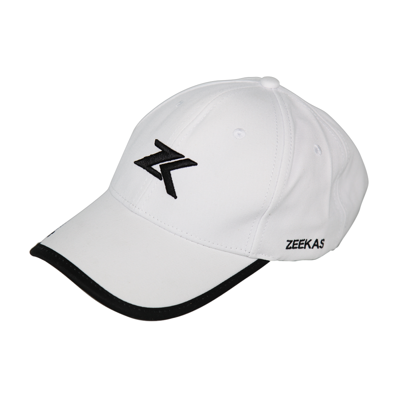 Zeekas ZK White Baseball Cap with Brand Embroidery Hat For Men and Women